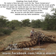 www.facebook.com/mara.maroi https://twitter.com/SA_Huntress @SA_Huntress https://www.facebook.com/maroi.conservancy http://www.maroiconservancy.co.za/