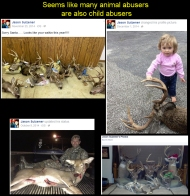 "Another shining example of the ""respect"" that hunters have for animals. This psychopath likes to decorate his bed with the decapitated heads of deer. These nut-jobs should have their kids taken off them for their protection. Here's his FB page: https://www.facebook.com/jason.sulzener His business page (Open for reviews): https://www.facebook.com/precisionoutdoorcreations And his company website, with Email feedback) http://precisionoutdoorcreations.com/"
