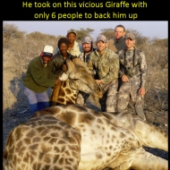 You would have to be particularly stupid to think that posing with a dead Giraffe you just shot, could make you look like anything other than a sub-human POS https://www.facebook.com/aaron.cohn2